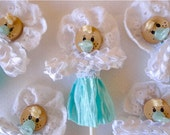 Baby doll white and turquoise, Centerpiece, Cupcake toper , Decor. Party, Baby shower, New baby, Confirmation, Christianity, Christmas