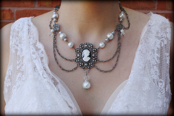 Cameo Necklace-Victorian Necklace-Pearl Necklace-Collar Necklace-Statement Necklace-Gothic Necklaces-Black Cameo-Dream Day Designs