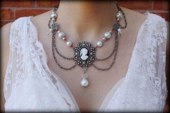 Cameo Necklace Victorian Necklace Pearl Necklace Collar