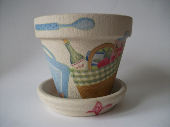 Picnic Basket Items : Items similar to clay flower pot decorated with picnic