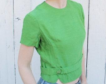 50s Emerald Green Blouse Back Zipper - large