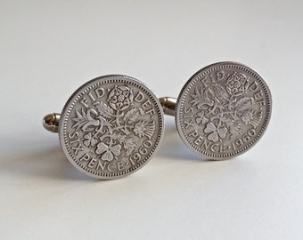 1960 Silver Coin Cufflinks, British 1960 Lucky Sixpence, 1960. 53rd Birthday present