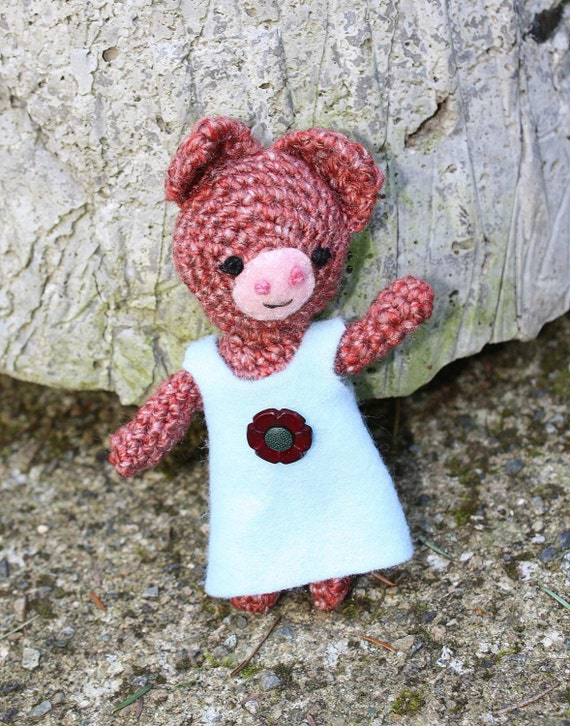 Piggy - crocheted, berry, stuffed toy with dress and flower butter