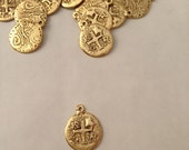 Pieces of Eight, GOLD, Pirate Money, Doubloon, 2 Sided, Pewter,Charm, Jewelry Supplies