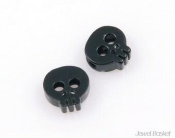 PB018-C (2pcs) / Tiny Skull Bead in Black / 6mm x 6mm
