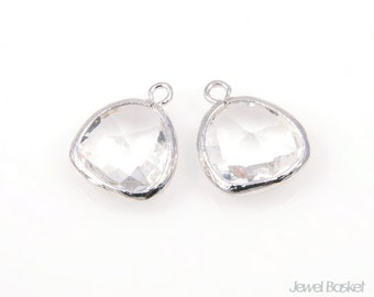 MARKDOWN - Crystal Color and Silver Framed Glass Pendent - 2pcs Crystal Color Pendant, Earrings Jewelry Pendant / 13x16mm / SCRS001-P