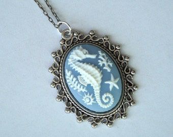 Nautical Seahorse Cameo Necklace on Antique Silver Tone Necklace - Blue Seaside, Ocean, Marine Theme