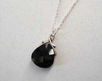 Jet Black Swarovski Crystal Pendant with Sterling Silver Chain and Silver Twig Bail