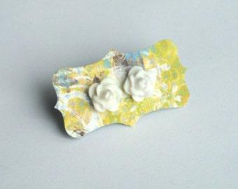 White Rose Stud Earrings - Roses on Surgical Steel Studs - Vintage Look, Wedding