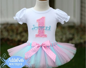 Personalized Light Pink and Aqua Polka Dot Birthday Tutu Outfit