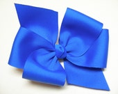 BIG Solid Bright Vivid Electric Blue Hair Bow Grosgrain LARGE USA 4th of July Girl Toddler Cheer School Uniform