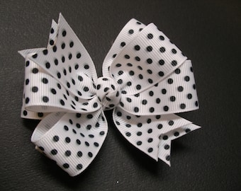 Simple Black Swiss Polka Dot on White Hair Bow Stacked Layered Boutique Toddler Girl