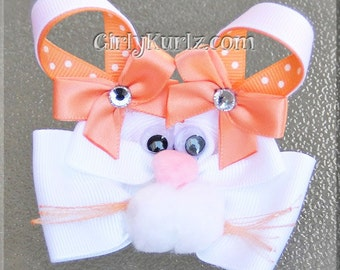PEACH Bunny Hair Bow, Easter Hair Bow, Bunny Hair Clip, Rabbit Hair Bow, Bunny Bow, Easter Bow, Spring Hair Bow