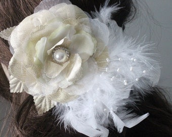 Organza flower with feather