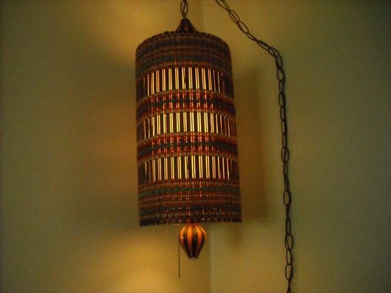 Hippie Boho Vintage Hanging Swag Lamp Brown Rattan Color Woven
