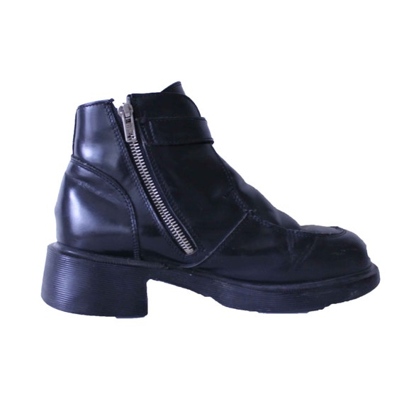 90s dr martin biker boots doc 6 black by madisonhartley