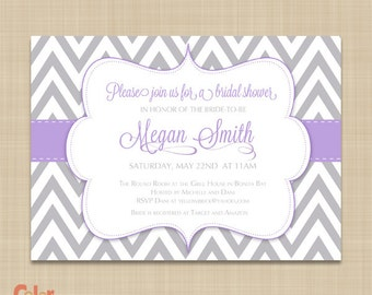 Chevron Bridal Shower Invitation - Purple, Lilac, Lavendar Chevron - Purple and Gray Chevron Bridal Shower Invite
