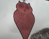 Owl Stained Glass Suncatcher, Pink Stained Glass Owl, Pink Owl Suncatcher, Engraved Stained Glass Suncatcher, October Birthday Owl