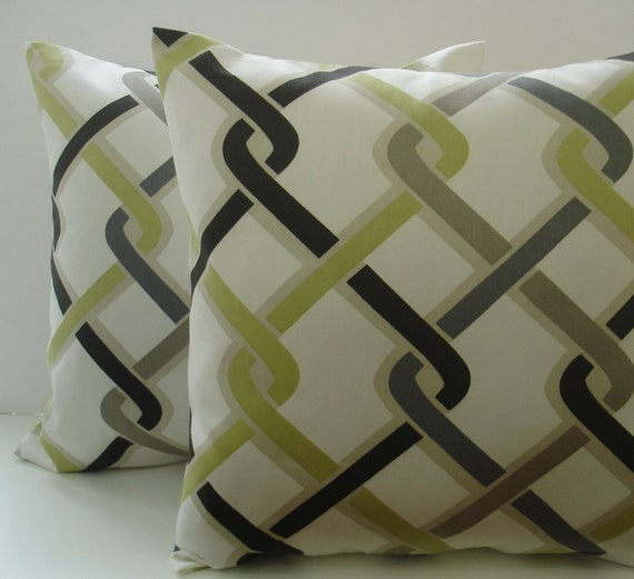 Decorative pillow covers Two Green / Black /White by ThePillowCo