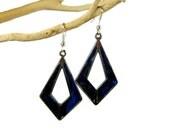 Abalone Shell Earrings, Midnight Blue Pendants, Paua Abalone, Silver / Blue Pendant Earrings, Upcycled Vintage