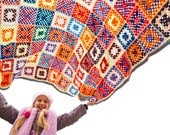 Granny square multicolor rug, green white crochet blanket, red afghan, blue orange brown plaid