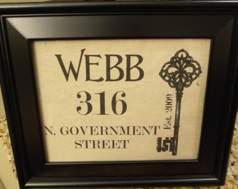 Personalized Linen Name and Address Print - Wedding Gift - Wedding - Key