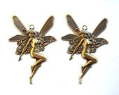 2 Antiqued Brass Fairy Charms