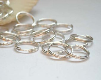 100 Silver Plated Double Loop Split Jump Rings - 10mm - 7-18