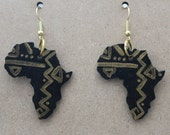 Africa Shape Wooden Earrings