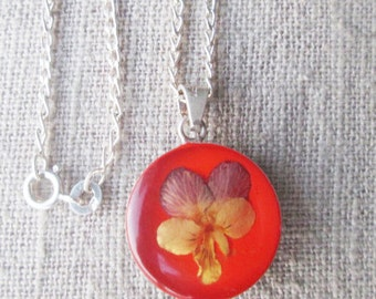 Choker necklace, flower girl silver choker, orange cameo choker necklace, real flower choker jewelry gift for sweet 16, trendy orange choker