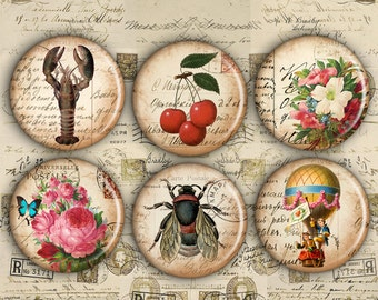 1 inch Circles - Digital Collage Sheet - Printable Download - Best for jewelry pendants, bottle caps, stickers - ANTIQUE PICTURES
