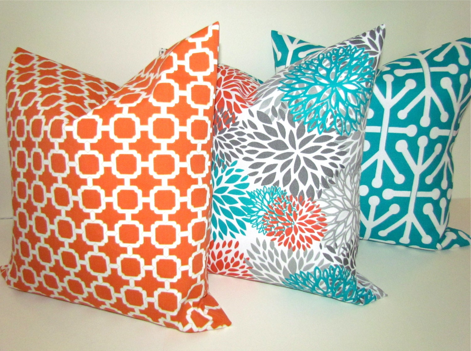 PILLOWS Orange Teal Throw Pillow Covers Outdoor Teal Turquoise