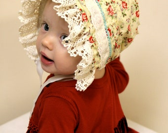 Baby bonnet in Roses and forget-me-nots -- infant hat, red and white, blue infant hat, photo prop, baby hat, sun bonnet, prairie, child