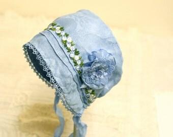 Baby in Blue Bonnet ,,Vintage Linen, antique bonnet, newborn, baby hat