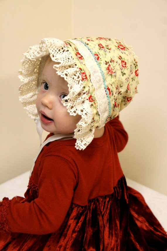 Reversible baby bonnet--  Antique white with red roses  and blue forget-me-nots--  infant hat.