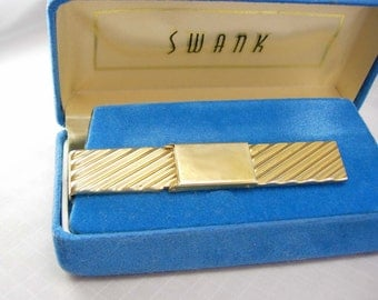 Engravable Tie clip Vintage Blank Signet Tie Clip Large Original Box Fathers Day Business Signed Swank money clip cufflink accessory