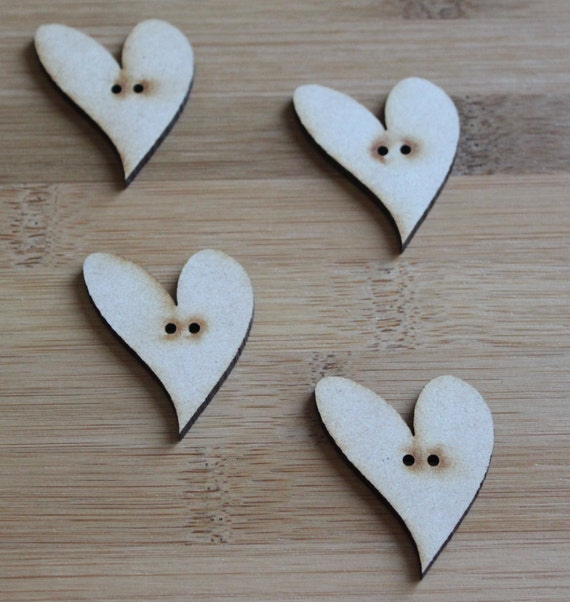Craft Wood Love Heart buttons, Large, 3.6 cm Wide, Laser Cut