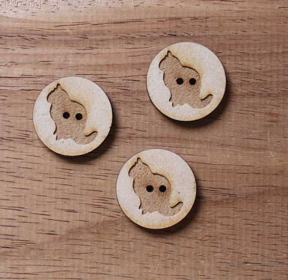 3 Craft Wood Cat Farmyard.Round Buttons, 3 cm Wide, Laser Cut Wood