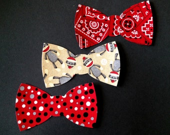 Set of 3 Iron-On Bow Ties - Monkey/Bandana/Red