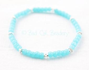 Light Aqua Blue Glass Bead Stretch Bead Bracelet Spring Summer