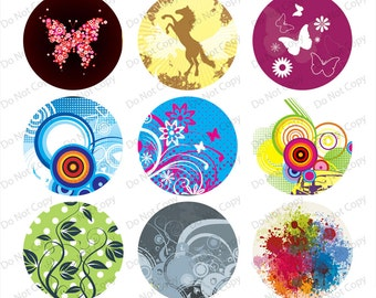 INSTANT digital Download Art flower- 1-inch Round Bottle Cap Images 4 x 6 in Digital Sheet, 1 inch circles, rounds, 1 inch digital images