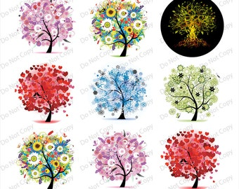 INSTANT digital DONWLOAD  Tree of life 1-inch Round Bottle Cap Images 4 x 6 in Digital Sheet, 1 inch circles, rounds, 1 inch digital images
