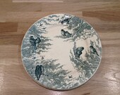 "3 french vintage plates from sarreguemines serie ""Neige"" with birds and clouds green and white"
