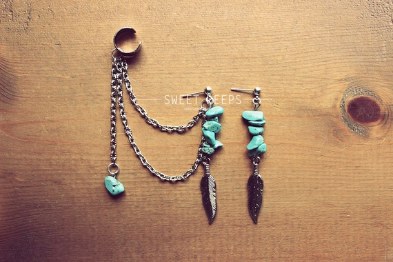 Silver Exotic Dangling Feathers Ear Cuff Set with Delicate Turquoise Stones