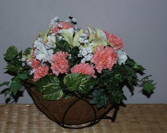 Silk floral hanging basket.