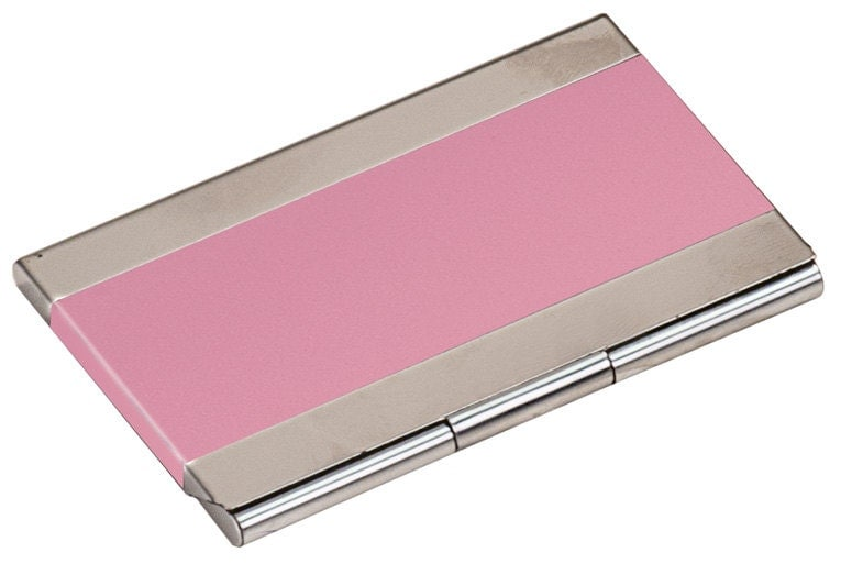 Custom Engraved Pink Business Card Holder by EngravingByJen