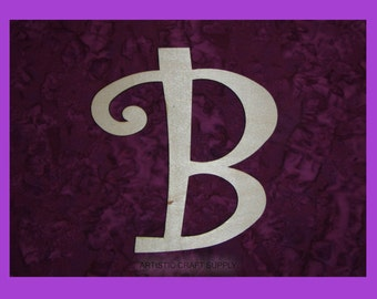 Letter B unfinished wood letters 6 inch tall Curlz Font