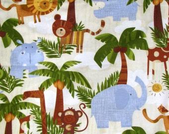 Jungle Jamboree flannel fabric - giraffes hippos elephants lions tigers rhinos monkeys crocodiles - Timeless Treasures - by the YARD