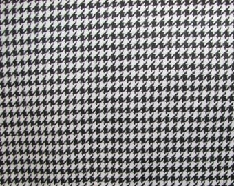 Houndstooth flannel fabric - black and white checks - by the YARD