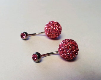 PINK Sparkly crystal belly ring